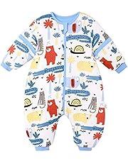 Baby sovsäck med fötter vinter varm sovsäck 2,5 tog bomull avtagbar ärm tecknat mönster pyjamas för pojkar flickor 0-2 år blå krokodil