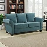 Milan Velvet Sofa (Turquoise) (36″H x 74″W x 33″D) Review