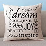 OneMtoss Custom Decorative Inspirational Quotes Cushion Cover 100% cotton blend linen Square pillow case – pillow covers for sofa, Living Room