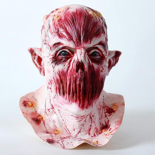 Littlefairy Mask,No Mouth Monster mask Halloween Horror Latex Wig Zombie Monster Mask Wig -