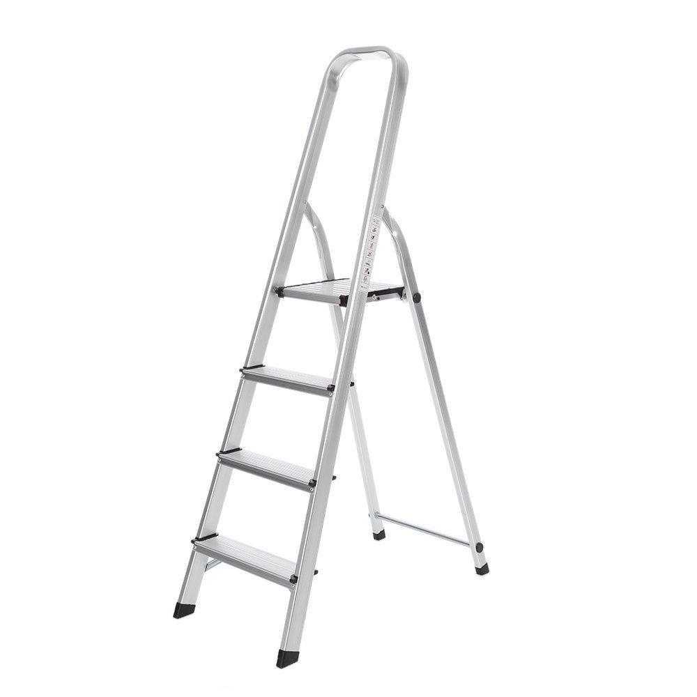 IKAYAA Aluminum Folding 4 Step Ladder with Hand Grip Portable Work Platform Step Stool, 330 lb.