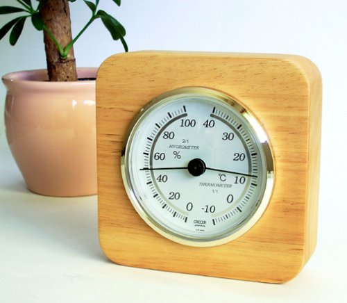 Kureseru natural wood thermo-hygrometer tabletop CR-620