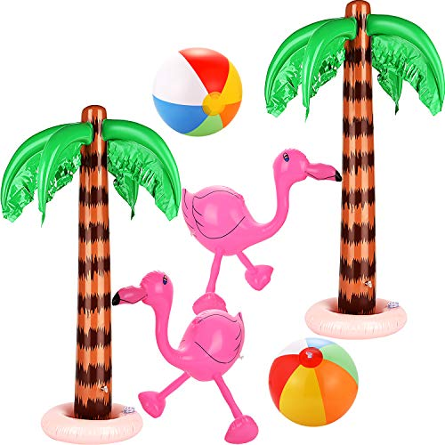 6 Pieces Inflatable Palm Trees Jumbo Coconut Trees Pink Flamingos Colorful Beach Balls Rainbow Color Balls for Hawaii Beach Luau Party Backdrop Decoration -