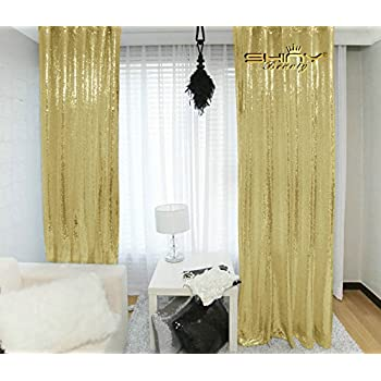 ShinyBeauty Champagne Gold Sequin Backdrop 3FTx8FT Fabric Wedding BackdropsSequin Curtains