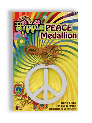 Forum Novelty Hippie Peace Sign Medallion - 1960s Peace Symbol Necklace Costume Accessory ()