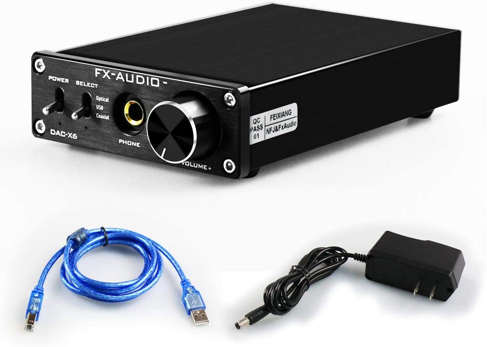FX AUDIO Digital to Analog Audio Converter 192kHz DAC Converter PC-USB Coaxial Optical Input 6.5mm Headphone Output RCA Home Audio Theater (Black)