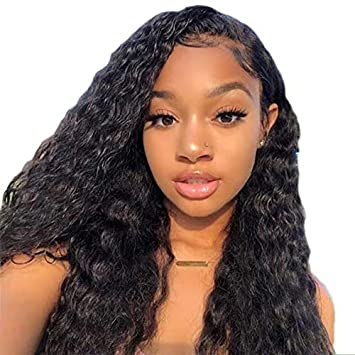 a few days away authentic quality temperament shoes Lwigs Curly Human Hair 360 Lace Frontal Wig Brazilian Virgin Hair Natural  Color Human Hair Wigs with Baby...