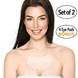 Decollette Pad for Chest Wrinkles - Set of 2 Silicone Chest Pads for Decollete and Cleavage Wrinkles Prevention - Reusable Overnight Anti Wrinkle Remover - 4 Eye Smoothing Patches Bonus