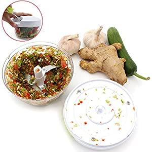 Manual Food Chopper with 3-Blades:Compact and Powerful Hand Held Vegetable Chopper/Mincer/Blender to Chop Meat/Fruits/Vegetables/Nuts/Herbs/Onions/Garlics for Salsa/Salad/Pesto/Coleslaw/Puree(White)