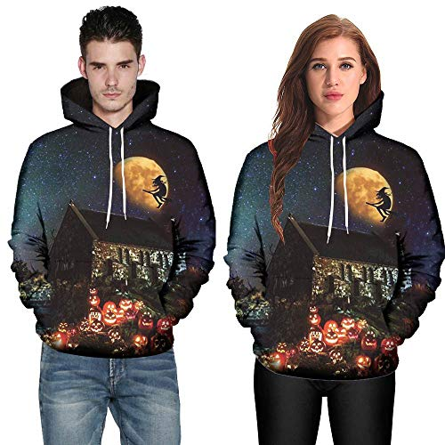 Clearance Deals,WUAI Halloween Costumes for Adults Mens Womens 3D Pumpkin Print Funny Plus Size Hoodie Jackets(Black-c,US Size 3XL = Tag 4XL)