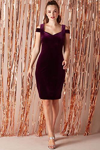 Robe Roman Velours Noel Originals Hiver Soirée Hepburn An Automne Epaules Prune Dénudées Robes Reveillon Nouvel Occasions Audrey Femme En IrgErw