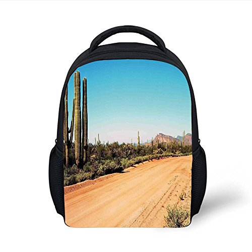 iPrint Kids School Backpack Saguaro Cactus Decor,Earth Path Giant Cactus Plants to The South American Desert Picture,Multi Plain Bookbag Travel Daypack