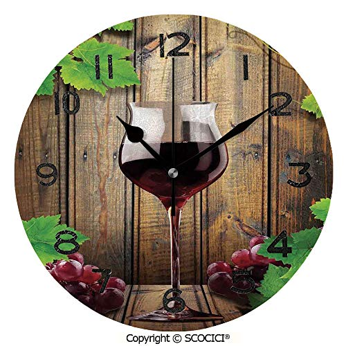 SCOCICI Print Round Wall Clock, 10 Inch Wine Glass Grapes Rustic Wood Kitchenware Home and Cafe Interior Art Design Decorative Quiet Desk Clock for Home,Office,School