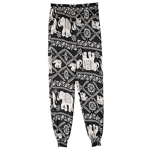 High Libero Stoffa Tempo Trousers Moda Baggy Grazioso Pantaloni Eleganti Pantaloni Spiaggia Di Blacker Elefant Di Pantaloni Pantaloni Lunghe Stampate Estivi Pantaloni Waist Lanterna Donna IwPA7qUqC