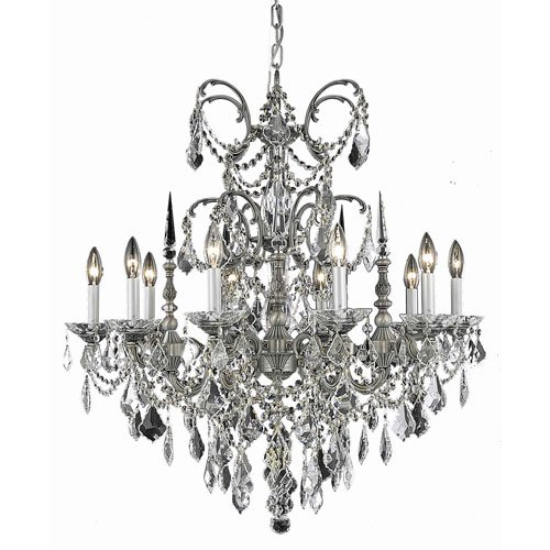 Strass Crystal Swarovski Collection - 9710 Athena Collection Hanging Fixture D30in H31in Lt:10 Pewter Finish (Swarovski Strass/Elements Golden Teak Crystals)