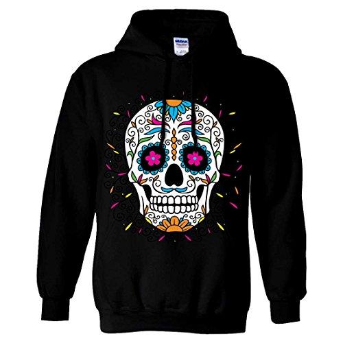 Dia De Los Muertos Pastel Sugar Skull Sweatshirt Hoodie - Black XX-Large