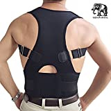Back & Lumbar Support Brace by NONPAREIL - Improve Posture & Relieve Lower Thoracic, Neck & Spine Pain & Pressure - Large (Waist 33-36), Black