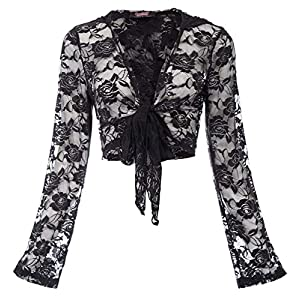 Women Steampunk Long Sleeve Hooded Floral Lace Shrug Tie Front Bolero Cardigan