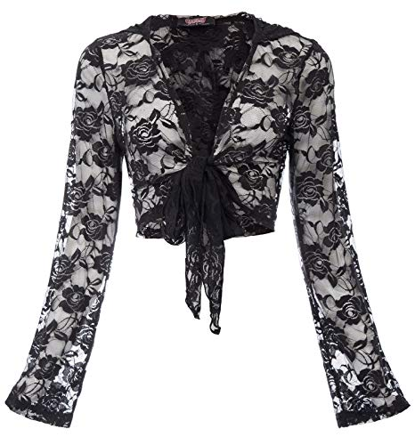 Gothic Lace Tie Front Bolero Shrug Cardigan Lace Jackets for Women SL47-1 L Black