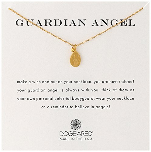 Dogeared Angel Necklace - Dogeared 'Guardian Angel' Charm Bead Gold Plated Sterling Silver Chain Necklace