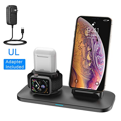 (3 in 1 Wireless Charger Station Stand Pad for iPhone X/XS/XR/8/7/6s/Plus,Apple Watch Charger for Apple Watch 4/3/2/1 Airpods Charging Dock Stand for airpods 1 2 )