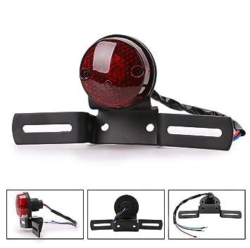 katur 12/V 5/W Motorrad Integrierte LED R/ücklicht Bremslicht Nummernschild rot rund Lampe