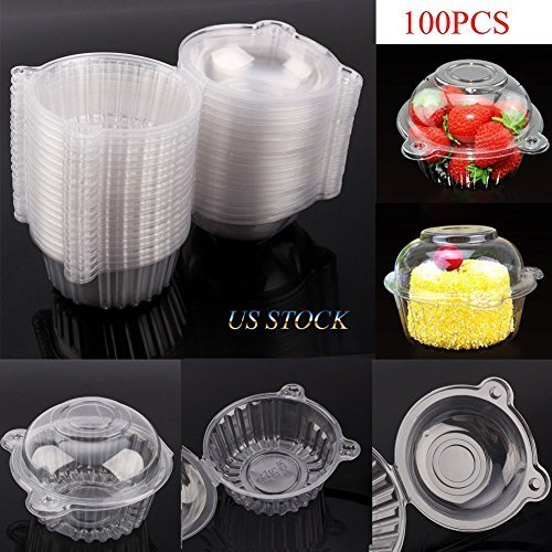 Cake Boxes-100 pcsClear Plastic Single Cup Cake Boxes Holder Muffin Case Patty Container Cupcake Carriers Baking Cups