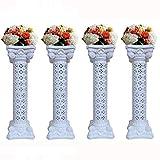 4Pcs Elegant Wedding Roman Column Set Pillars Decoration Party Flower Pot Columns Decor Adjustable Height and Holds Flower Plate Plastic Wedding Event Column(40' in - 4 Columns)