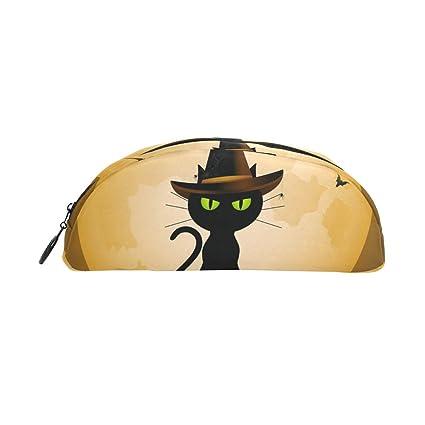 Estuche para lápices, diseño de gato mágico, brujas de Halloween, luna llena,
