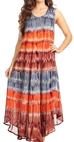 Sakkas 605 Desert Sun Caftan Dress/Cover Up - Grey/Coral - One Size (Sun Coral)