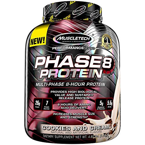 MuscleTech Phase8 Protein Powder, Sustained Release 8-Hour Protein Shake, Cookies and Cream, 4.6 Pound