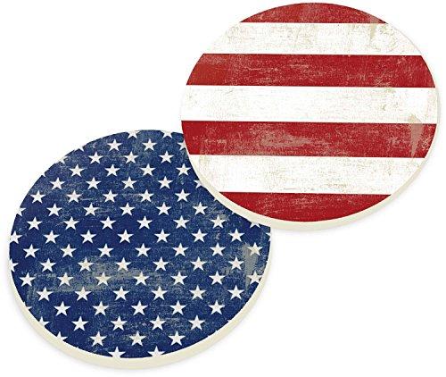 P. Graham Dunn Americana Stars and Stripes 2 Piece Ceramic Car Coasters Set