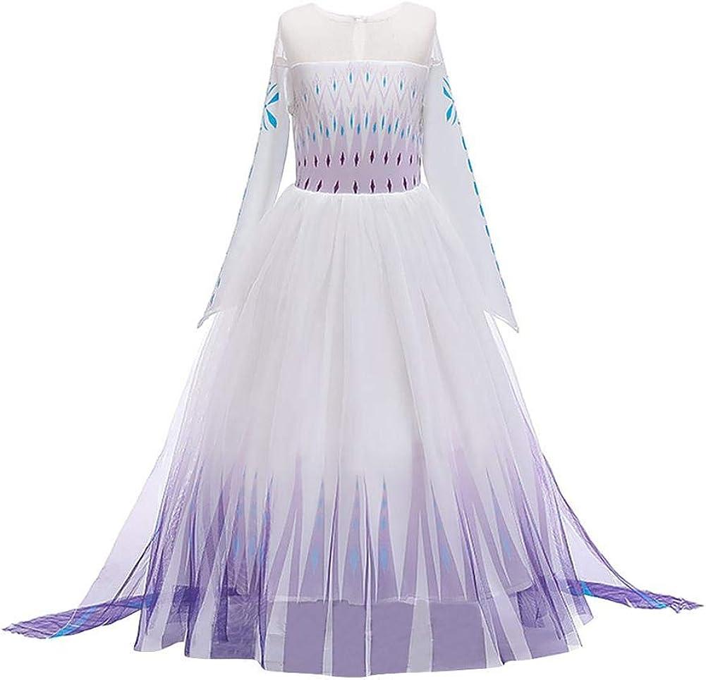 OBEEII Disfraz de Princesa Elsa Frozen 2 Ni/ñas Reino de Hielo Vestido de Carnaval Fiesta Halloween Cosplay Navidad Costume Accesorio 2-14 A/ños
