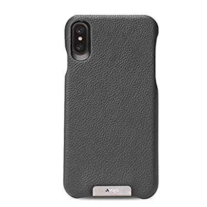 finest selection 84cf5 d5191 Vaja Grip Leather Case for iPhone X - Hard Polycarbonate Frame, Wireless  Charging Compatible - Tough Grey