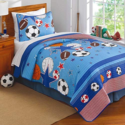 2 Pieces Kids All Sports Themed Quilt Twin Set, Featuring Stars Soccer Football Baseball Basketball Patterned Bedding, Cute For Boys, Atheletic Inspired