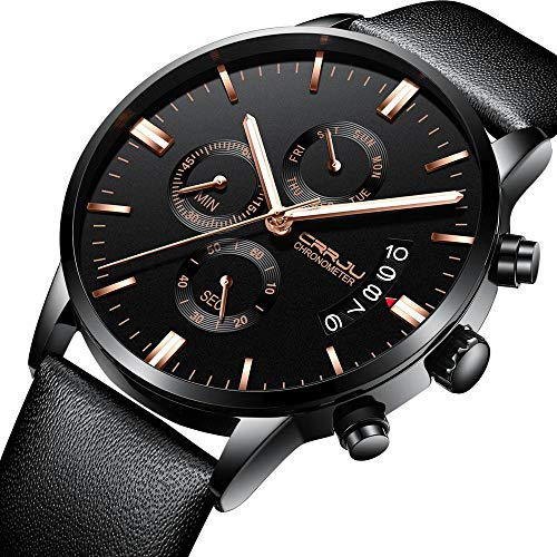 (Watches for Men, DYTA 3ATM Waterproof 3 in 1 Stopwatch Chronograph Calendar Business Watches with Leather Strap Under 55 Analog Quartz Wrist Watch on Sale on Clearance Relojes De Hombre)