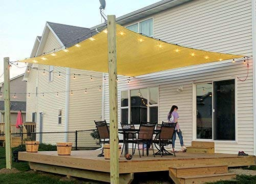 Rectangle Sun Shade Sail Canopy, 6' x 8' Patio Shade Cloth Outdoor Cover - UV Block Sunshade Fabric Awning Shelter for Pergola Backyard Garden Carport (Sand)
