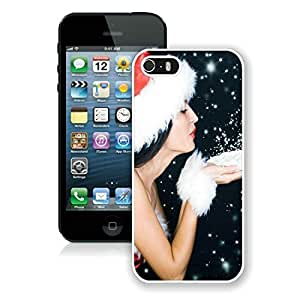 Personalized Hard Shell Iphone 5S Protective Case Merry Christmas iPhone 5 5S TPU Case 95 White