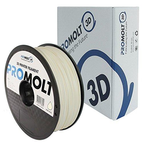 Professional White 1.75mm PLA 3D Printer Filament, 1kg (2.2lb) Filament Weight, +/- 0.05mm Tolerance, by ProMolt - Vs Polymer Plastic