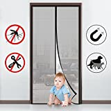 FabricMCC Magnetic Screen Door, Heavy Duty Instant Mesh Curtain Screen Door Protector with Full Frame Magic Stickers Fits Doors up to 36''x82'' Max