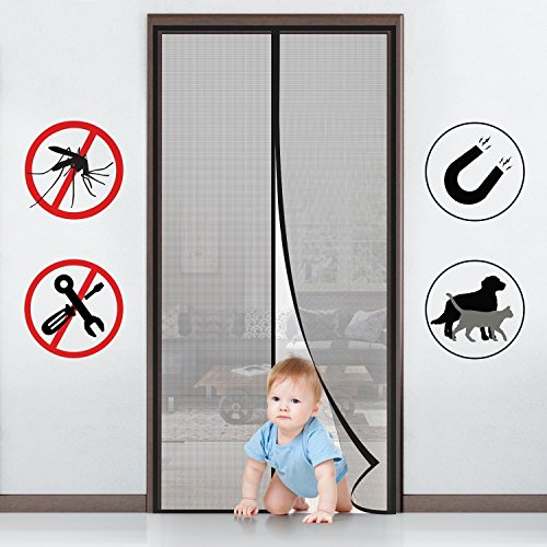 Fabricmcc Magnetic Screen Door Heavy Duty Instant Mesh Curtain Screen Door Protector With Full Frame Magic Stickers Fits Doors Up To 36 X82 Max On Galleon Philippines