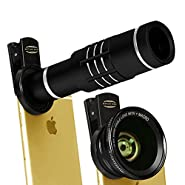 Top Quality HD 18X Telephoto Lens Telescope with 0.45X Wide Angle & 12.5X Macro Lens for iPhone 7, 7 Plus, 6S, LG, Huawei, HTC and more(Black)