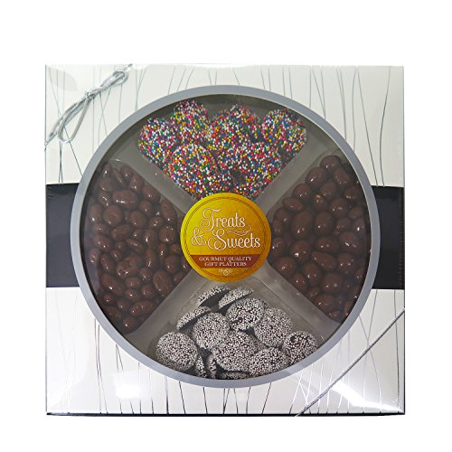 Gourmet Quality Assorted Kosher Chocolate Platter - Chocolate Peanuts, Chocolate Covered Nuts And Covered Raisins, White & Rainbow Comes W Beautiful Box ()