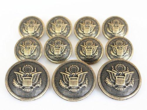 YCEE 11 Pieces Gold Metal Blazer Button Set - Eagle Badge - For Blazer, Suits, Sport Coat, Uniform, Jacket (Antique Brass) ()