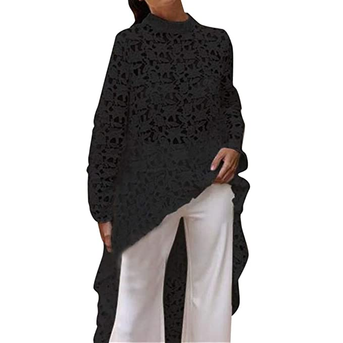 Aniywn Women's Long Sleeve Blouse, Lace Hollow Out High Low