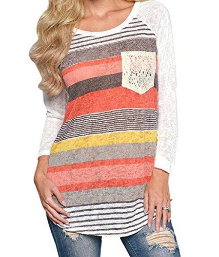 Top 4 Casual Tunica Maglia Blusa 3 Tumblr T Righe Maniche Maglietta Mezza Donna Manica Stampe a Girocollo Boho shirt Hippie Camicia Elegante 8xR8q1S