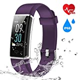 Colour Screen Fitness Tracker, CHEREEKI Fitness Trackers with 24 Hours Heart Rate Monitor & IP68 Waterproof Activity Tracker & 14 Exercise Modes Smart Watch & Screen Brightness Adjustable & Weather Display Notification SMS Facebook Whatsapp Viber Skype for Android Phone and iOS iPhone (Purple)