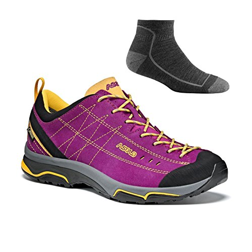 Asolo Women's Nucleon GV Hiking Shoes Verbena/Yellow w/Socks - 8.5