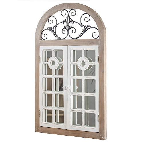 American Art Decor Rustic Farmhouse Cathedral Arch Window Shutter Wall Vanity Accent -