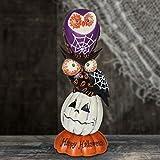 Exhart Spider Web Owls and Pumpkins Centerpiece, Halloween Statue, Stacked Pillar, Inscribed Happy Halloween, 13″ For Sale